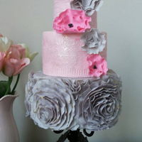 Ruffle Wedding Cake with lace cake for the second layer