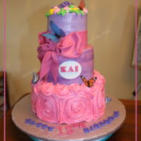 Ruffles And Butterflies This cake was made via Icing Smiles for a girl, Kai, celebrating her 13th birthday. There are a few fondant details - name and plaque,...