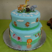 Safari Animal Baby Shower Cake   Fondant and gumpaste , used wiltons sample with gumpaste mold