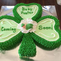 Shamrock Baby Shower Cake   Baby shamrock cake with buttercream frosting and gum paste flower and baby