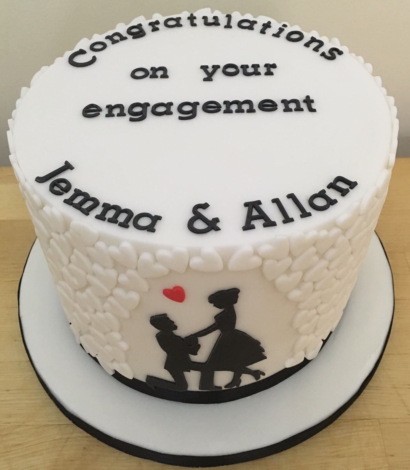 Silhouette Engagement Cake Silhouette engagement cake