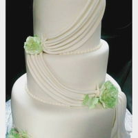 Simple, Elegant 3 Tier White And Green Wedding Cake Vanilla sponge and alcoholic fruit cake.