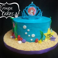 Simple Little Mermaid Cake Smooth Buttercream Little Mermaid Cake with some fondant decor
