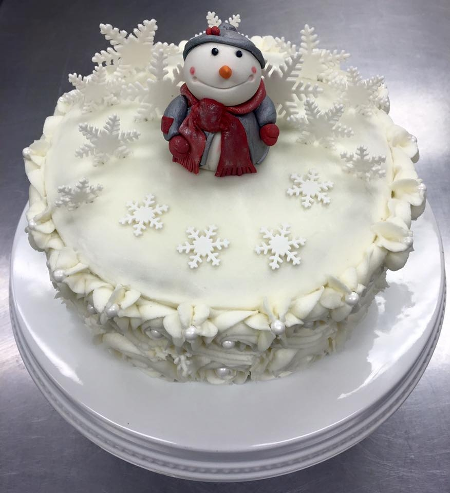 Snowman Buttercream and Chocolate mint cake with fondant snowflakes and snowman