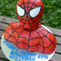 Spiderman This cake was very very difficult. Making it a bust wasn't the difficult part...getting all the fondant lines to stay on...now, that...