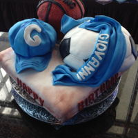 Sports Made this cake for a 1st birthday!! all in fondant.. thanks for looking!!