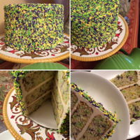 "Sprinkle Cake 3-layer, 8"" birthday cake from Martha Stewart recipe"