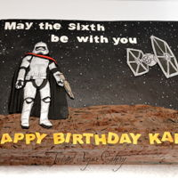 Star Wars Made for a 6th birthday. Hand-cut fondant 2D images. Captain Phasma