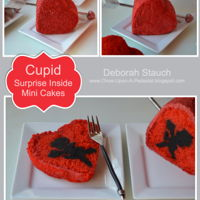 Surprise Inside Mini Cupid Cakes Dark chocolate cake cupids inside cherry cake hearts