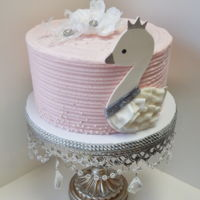 "Swan Baby Shower Cake Based on Lambs & Ivy ""Swan Lake"" Nursery Decor.Swan is icing sheets, fondant and luster dust."