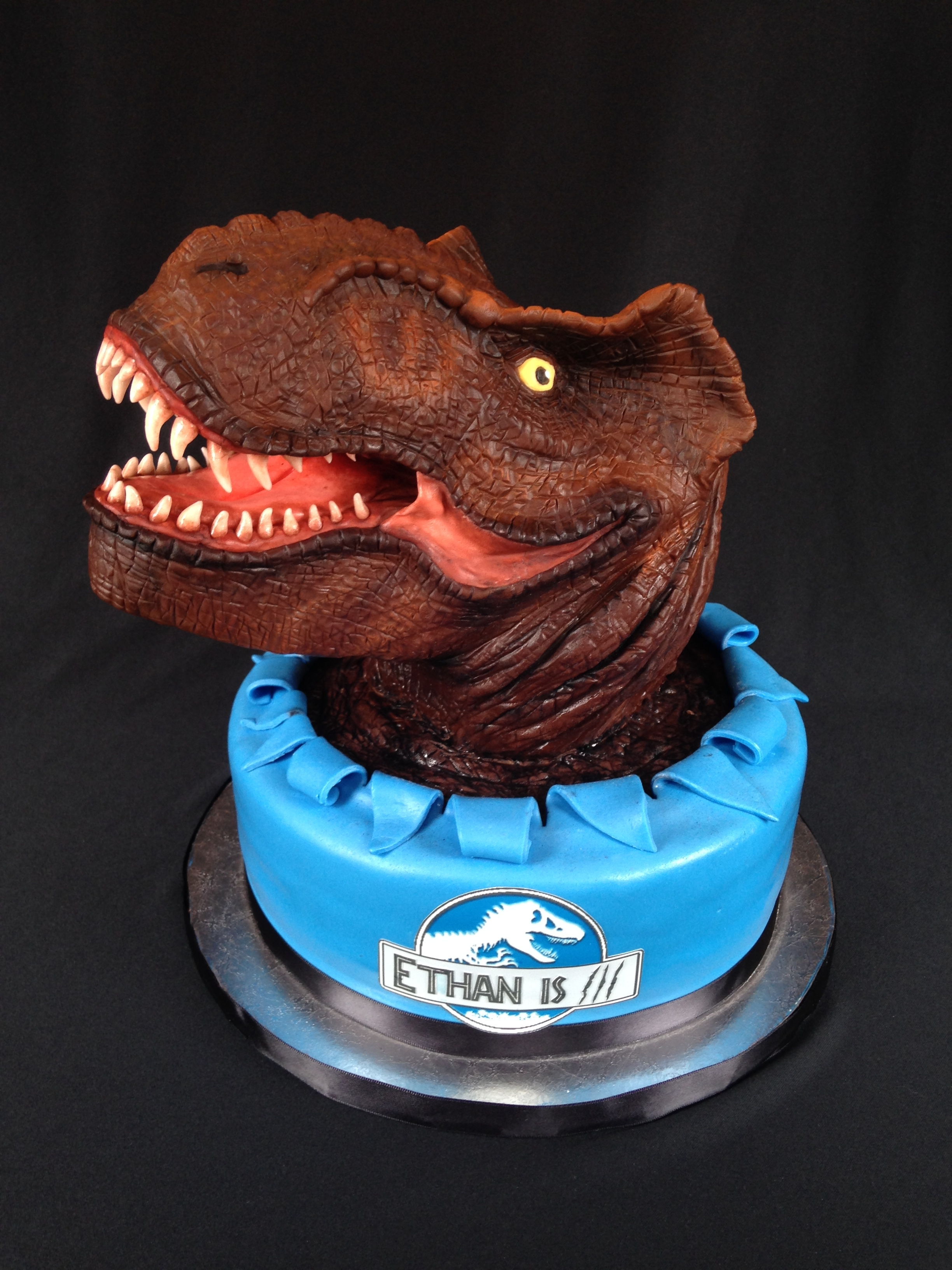 T Rex Cake  T Rex made of RKT covered in modeling chocolate and details by hand. Base cake chocolate with choc chip cookie dough frosting covered in...