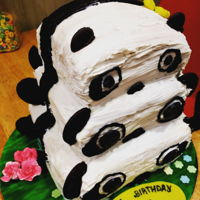 Tiered Panda Chocolate and vanilla cake with white chocolate buttercream cream and coated with candy melts