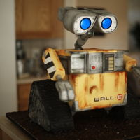 Wall-E Yes, another Wall-e Cake :) All edible except the eyes and arms. Wall-e's body is cake and his wheels are RKT.