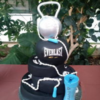 Weight Lifting Grooms Cake kettle ball is cereal treats and white chocolate then fondant covered.