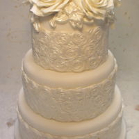 White Roses Wedding Cakes three tiers madeira cake