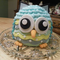 Whoo's Ready For Spring Owl made for youth cake auction. Midnight chocolate cake, buttercream frosting with fondant details.