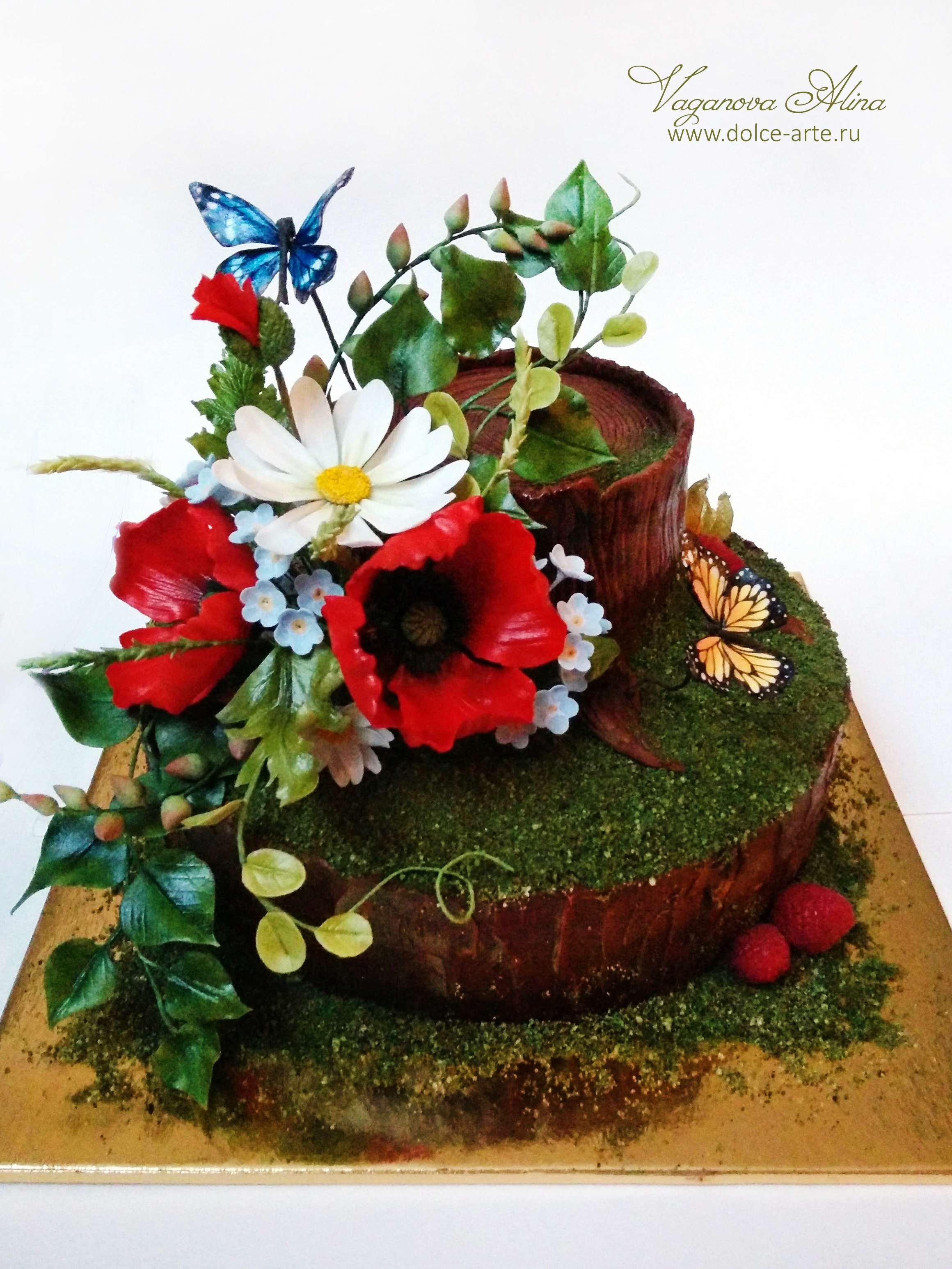 Wildflowers cake for the girl. inside is a chocolate mud cake with mascarpone cream and raspberry filling. inside a stump is a special filling for...