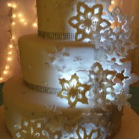 Winter Wonderland Gumpaste snow flakes, iridescent disco dust and sugar crystal...