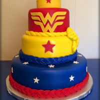 Wonder Woman Birthday Cake WASC, buttercream, MMF, and modeling chocolate