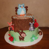Woodland Critters Baby shower cake with baby animals