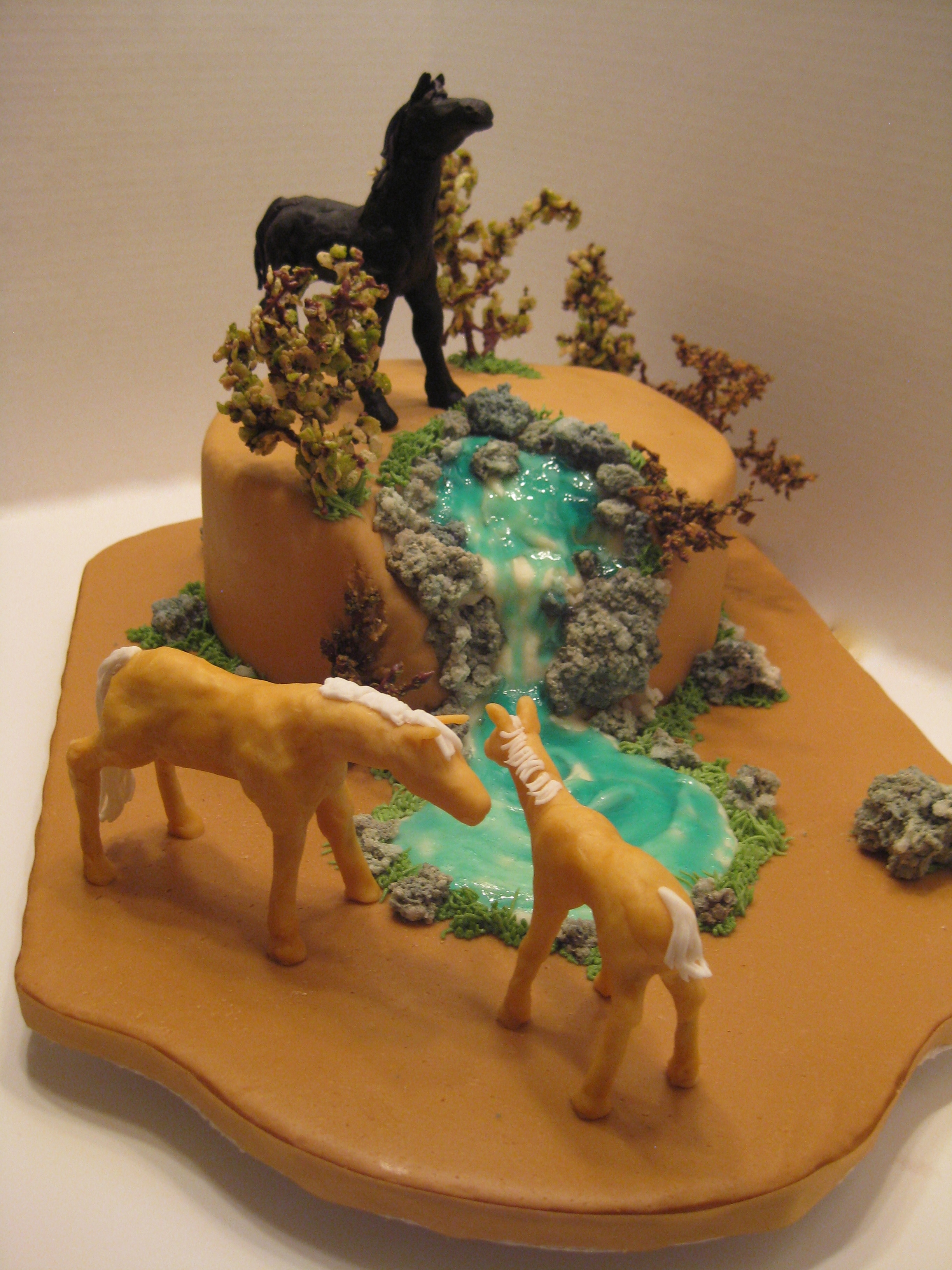 Yet Another Horse Cake! Third horse cake for a horse crazy granddaughter. Horses are fondant/MC, trees are grape stems dipped in choc. and rice krispies, water is...