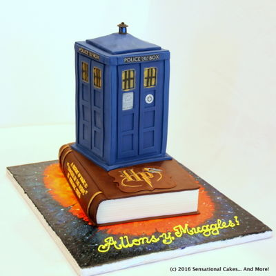 Dr. Who Tardis And Harry Potter Book Cake