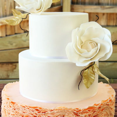 Peach-Colored Ruffled Wedding Cake