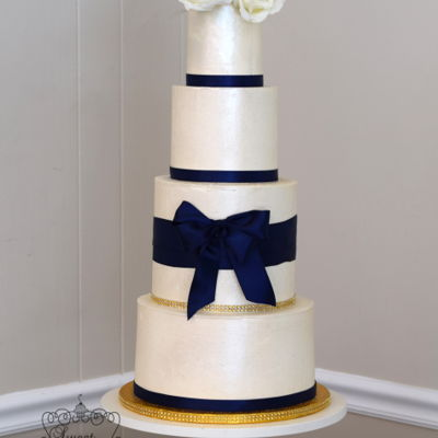 Blue And White Buttercream Wedding