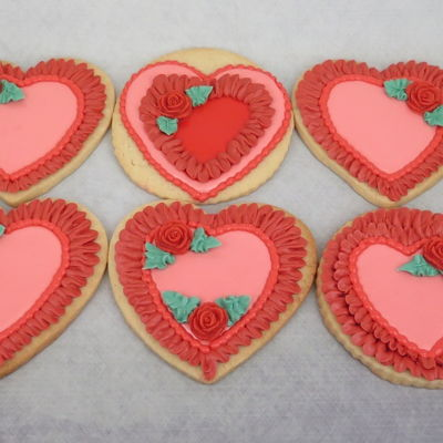 Valentines Day Red Rose Cookies 2-12-2016