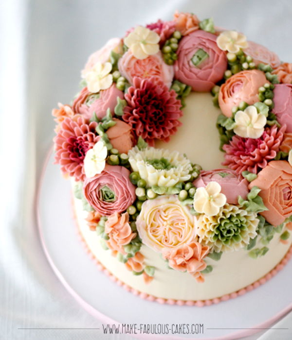 Buttercream Flower Wreath Cake
