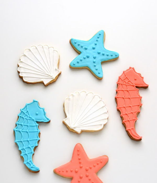 Seashell, Starfish, And Seahorse Cookies