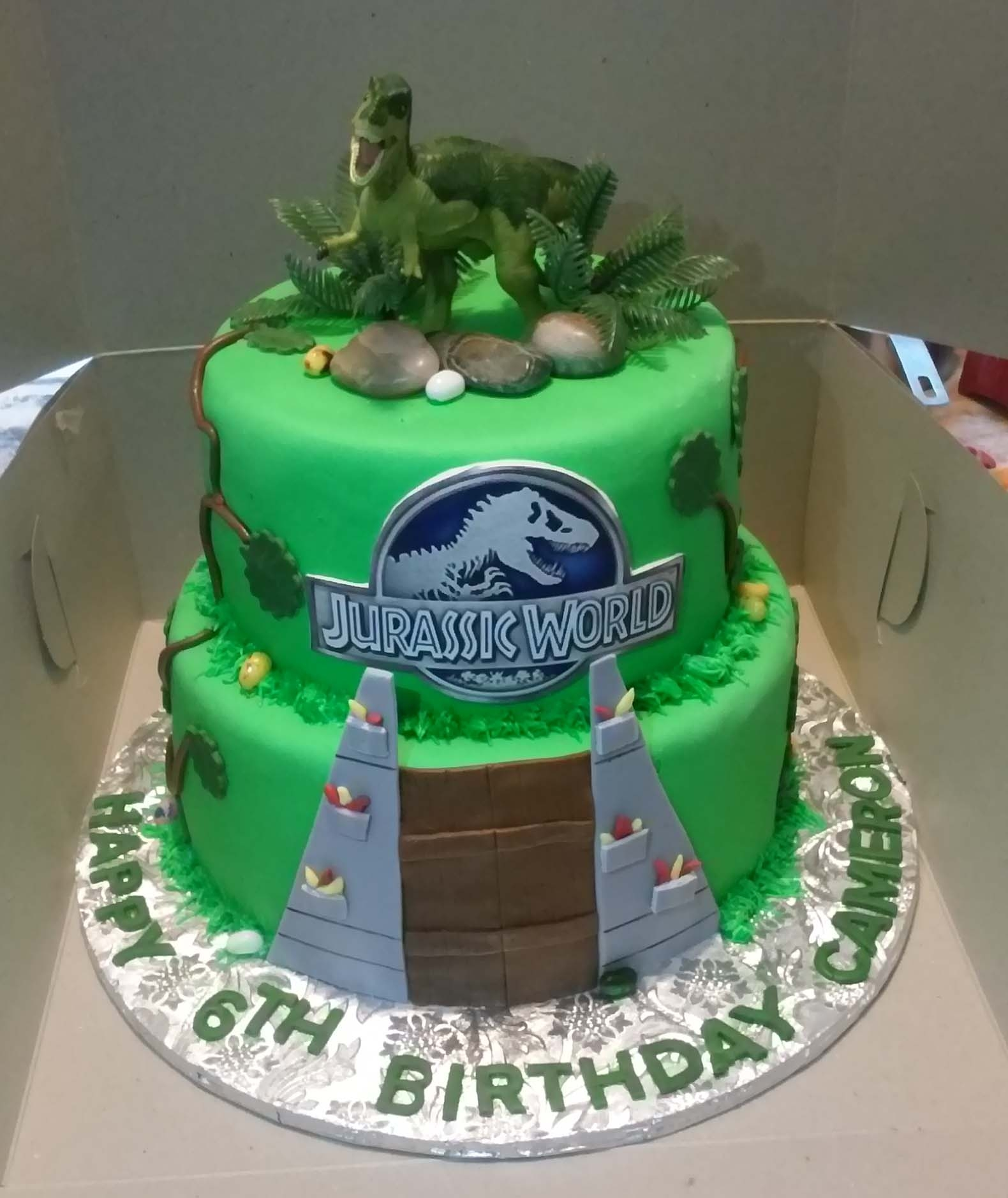 2 Tier Jurassic World Themed Birthday Cake On Central