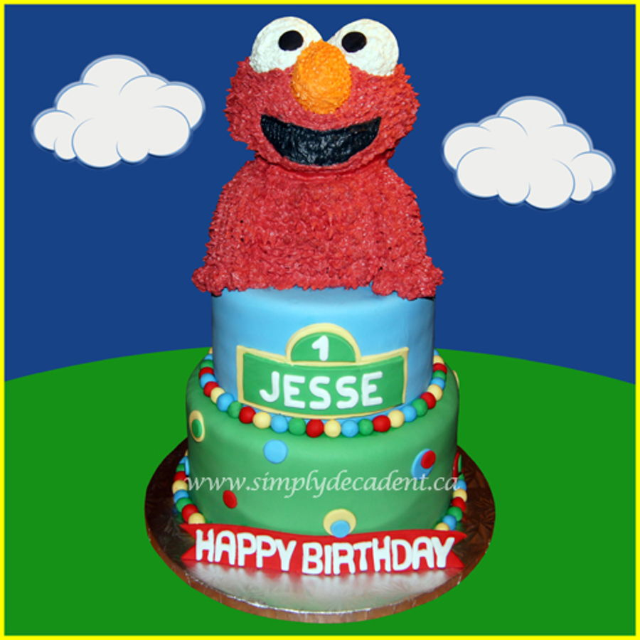 3 Tier Fondant Sesame Street Birthday Cake With 3D Buttercream Elmo