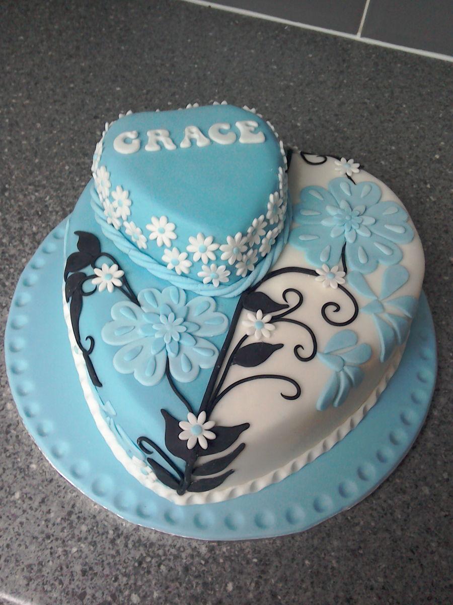 Applique Double Heart Birthday Cake Cakecentral Com
