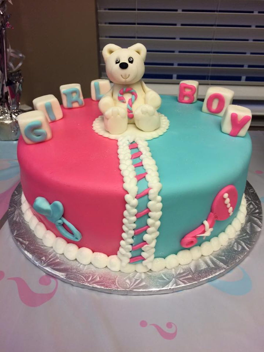 Baby Gender Reveal Teddy Bear Baby Shower Cake Cakecentral