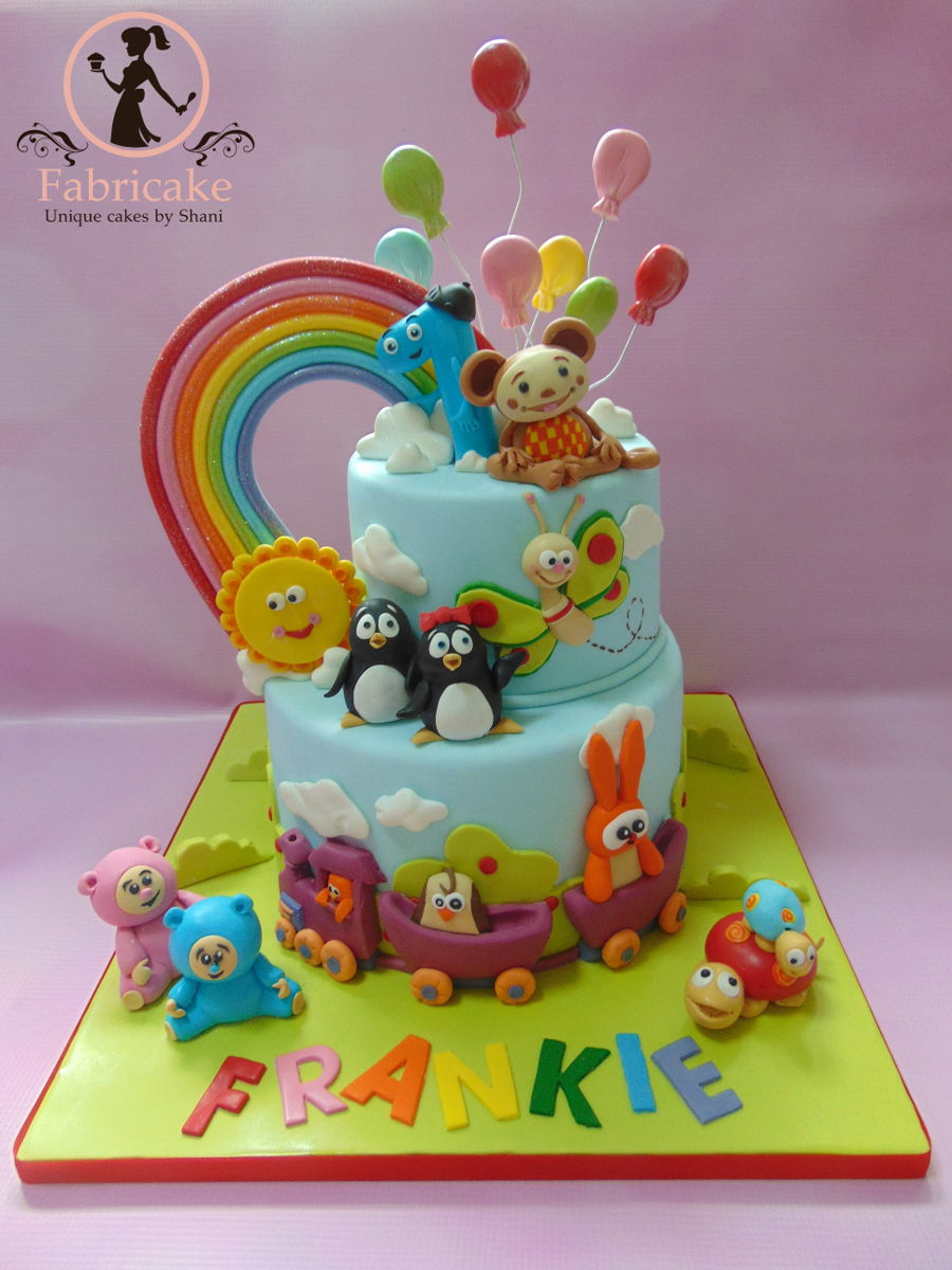 Baby tv cake for Baby tv birthday decoration