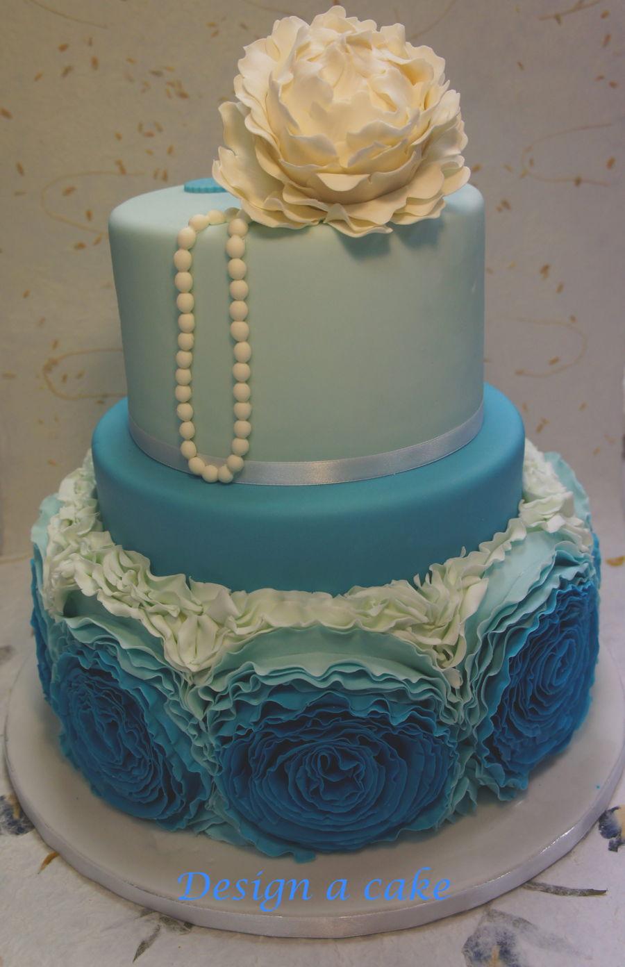 Blue Ruffles Wedding Cakes Cakecentral Com