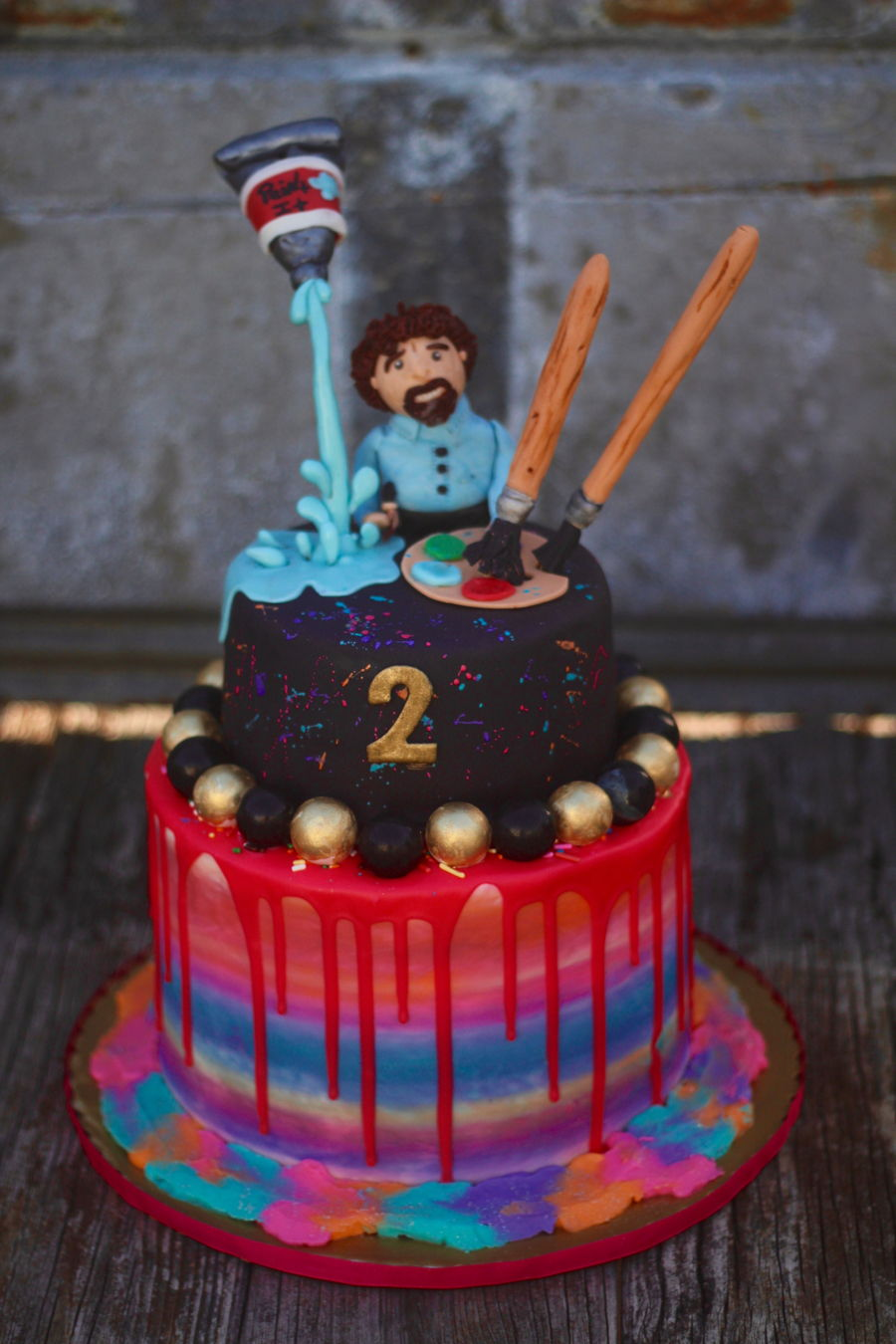Audrey Ross Cake Artist : Bob Ross Art Cake - CakeCentral.com