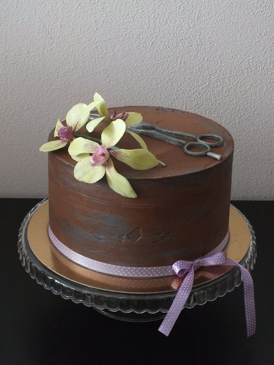 Chocolate Orchid Cake on Cake Central