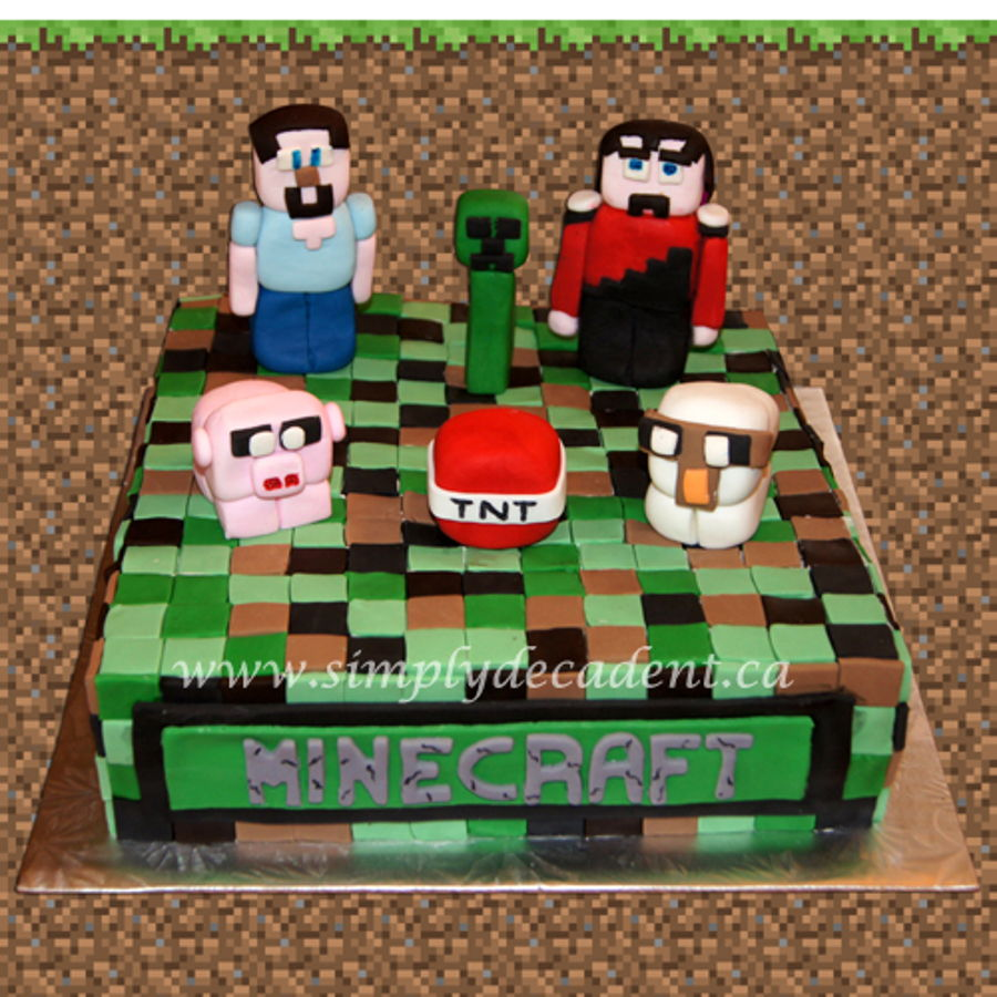Fondant Minecraft Birthday Cake With 3d Figures Steve Creeper Red