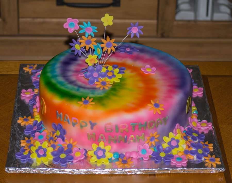Pleasing Hannahs Tie Dye Birthday Cake Cakecentral Com Personalised Birthday Cards Paralily Jamesorg