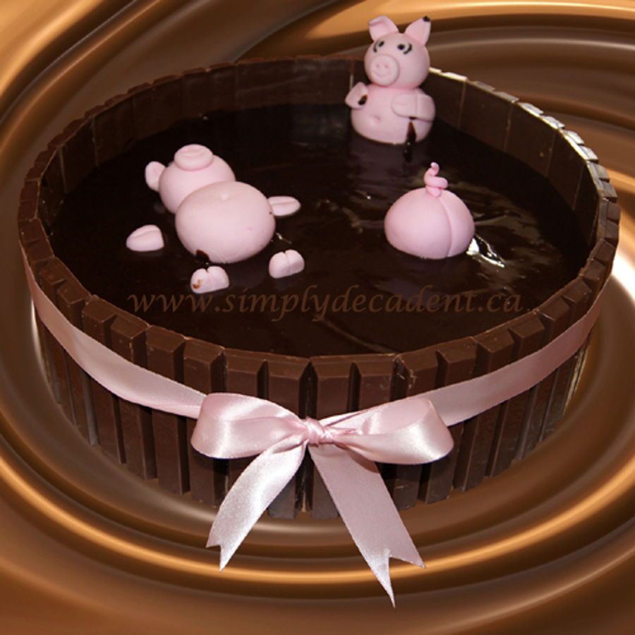 Kit Kat Hot Tub Birthday Cake With Fondant Pigs Bathing In Chocolate