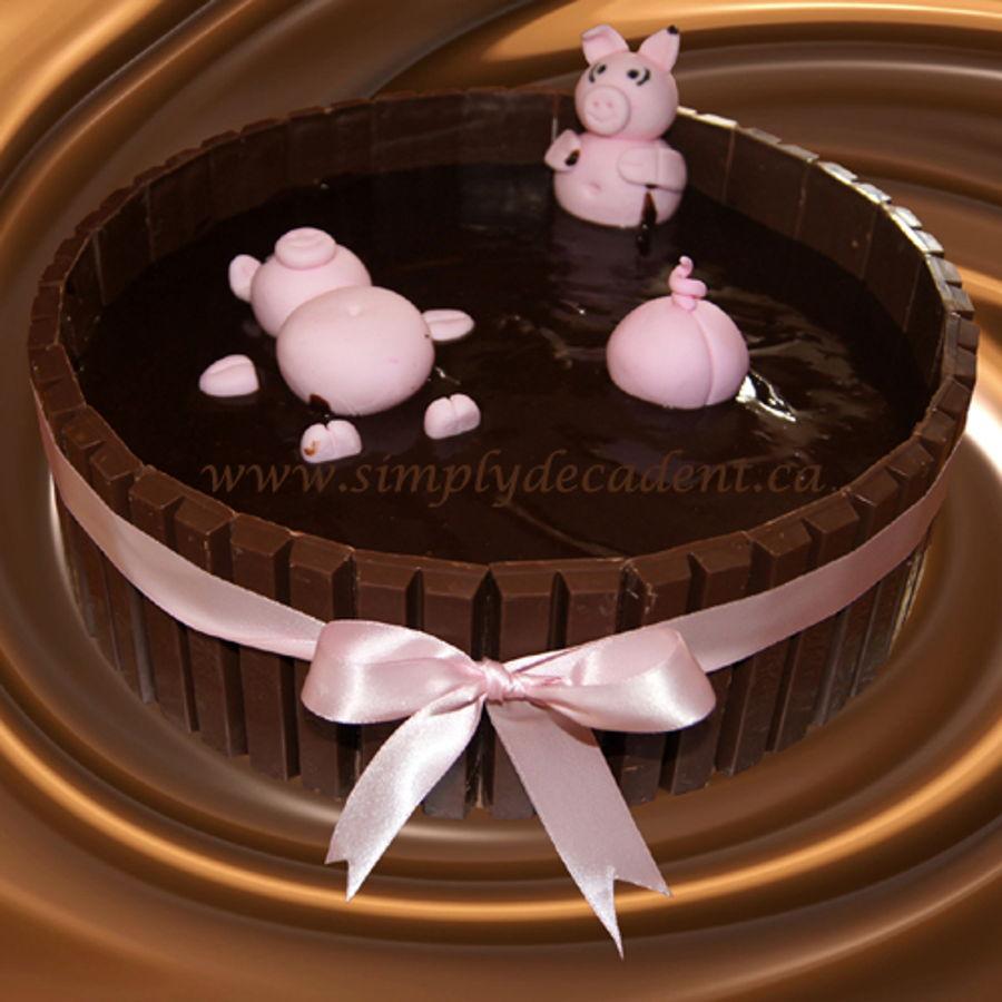 Kit Kat Hot Tub Birthday Cake With Fondant Pigs Bathing In