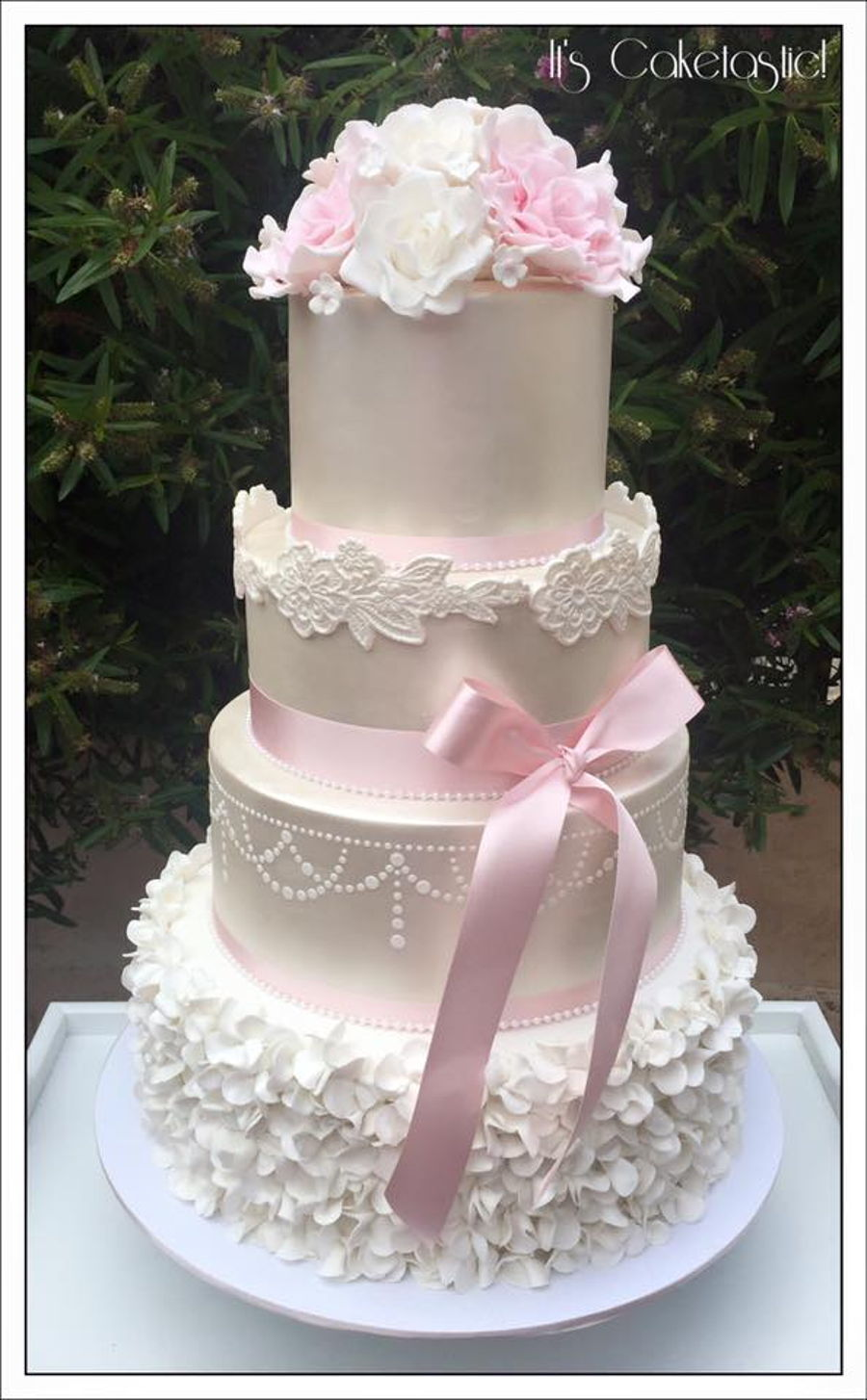 Lustre And Blush Wedding Cake on Cake Central