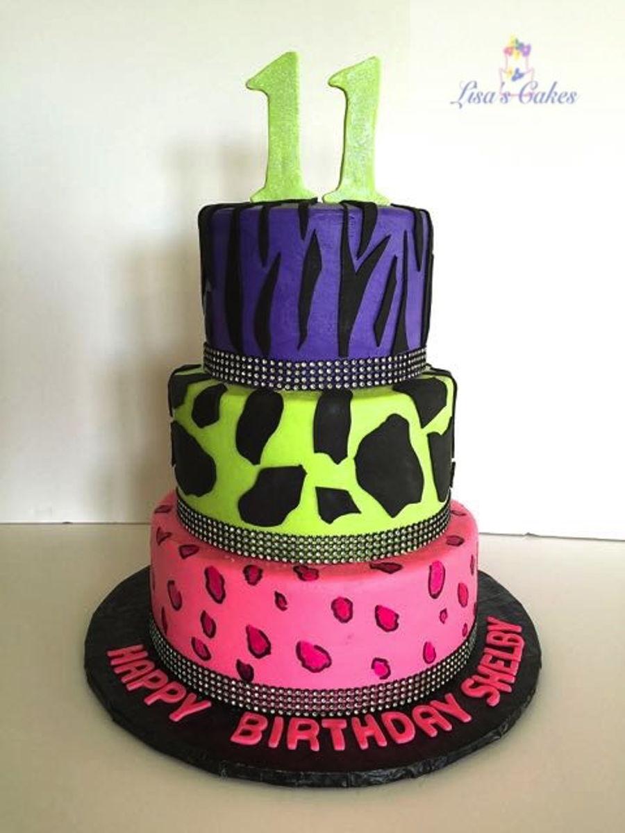 Neon Animal Print Birthday Cake On Central