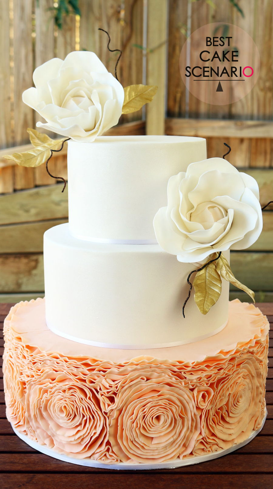 wedding cake peach color colored ruffled wedding cake cakecentral 23394