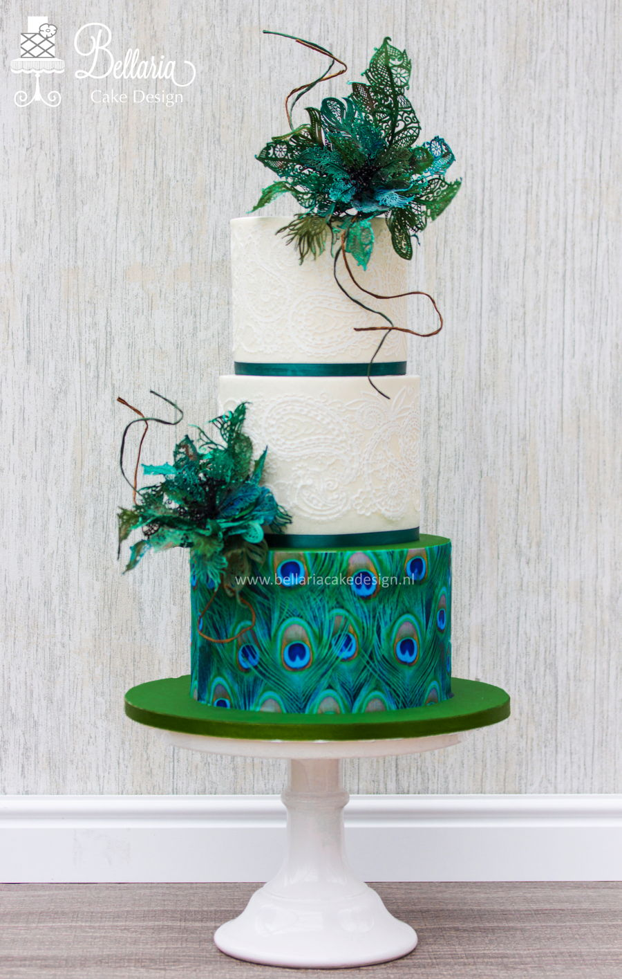 Peacock Inspired Wedding Cake - CakeCentral.com