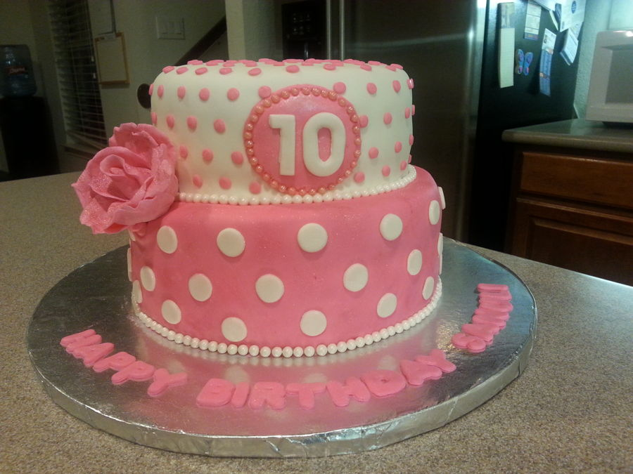 Pink And White 10th Birthday Cake Cakecentral Com
