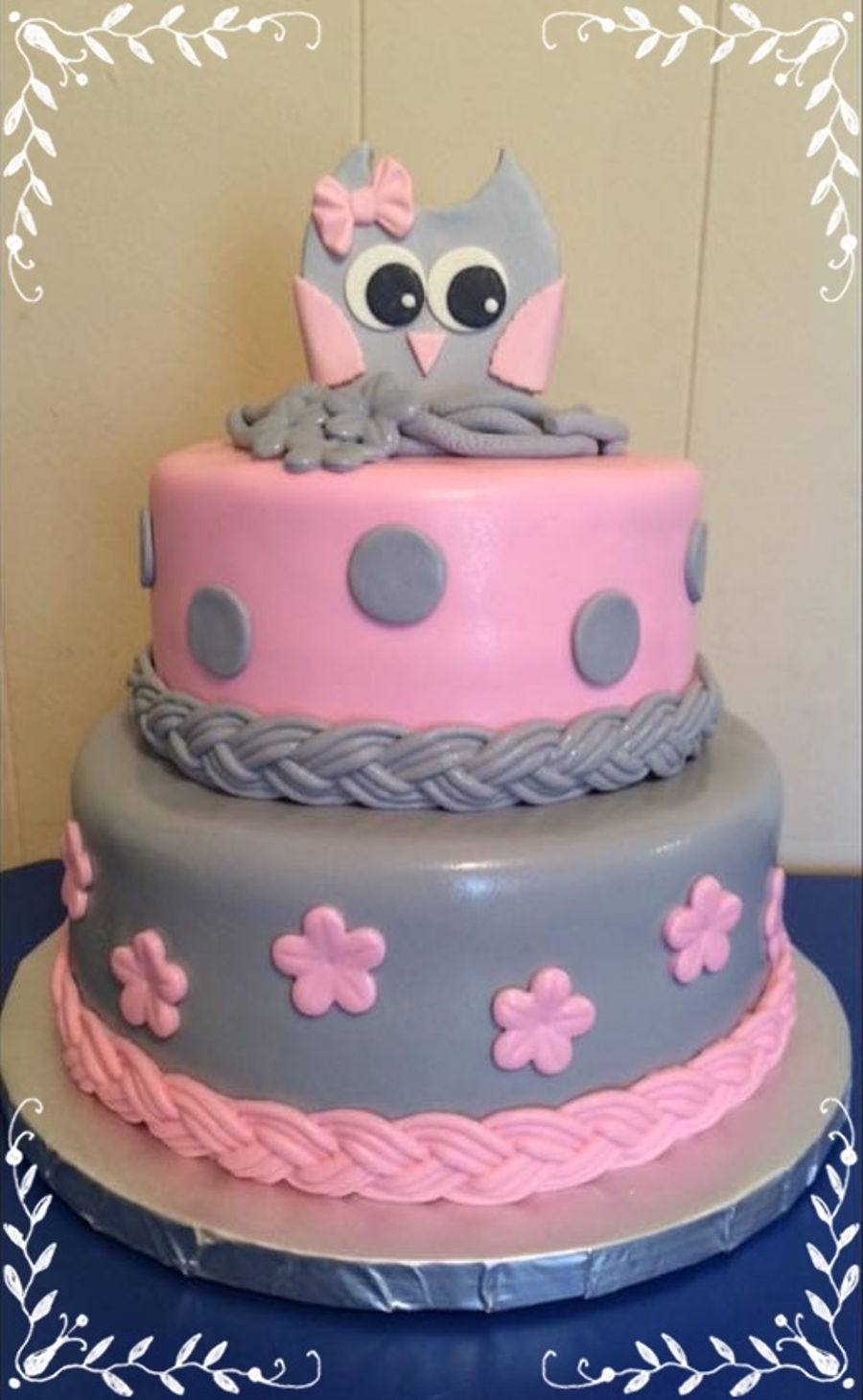 Pink u0026 Gray Owl Baby Shower on Cake Central : baby shower cake decorating ideas - www.pureclipart.com