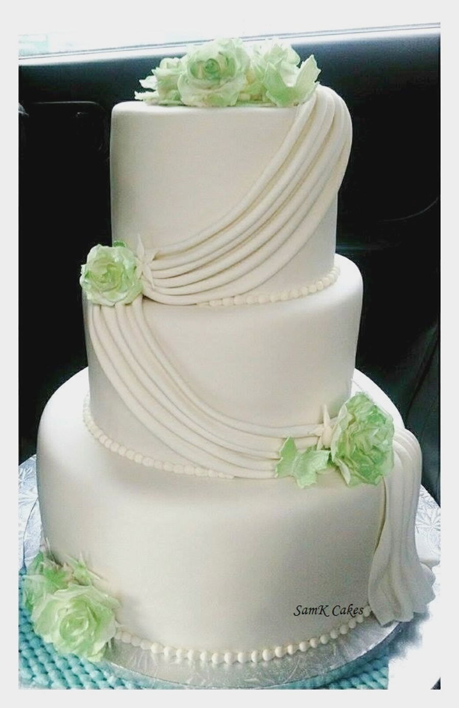 Simple, Elegant 3 Tier White And Green Wedding Cake ...
